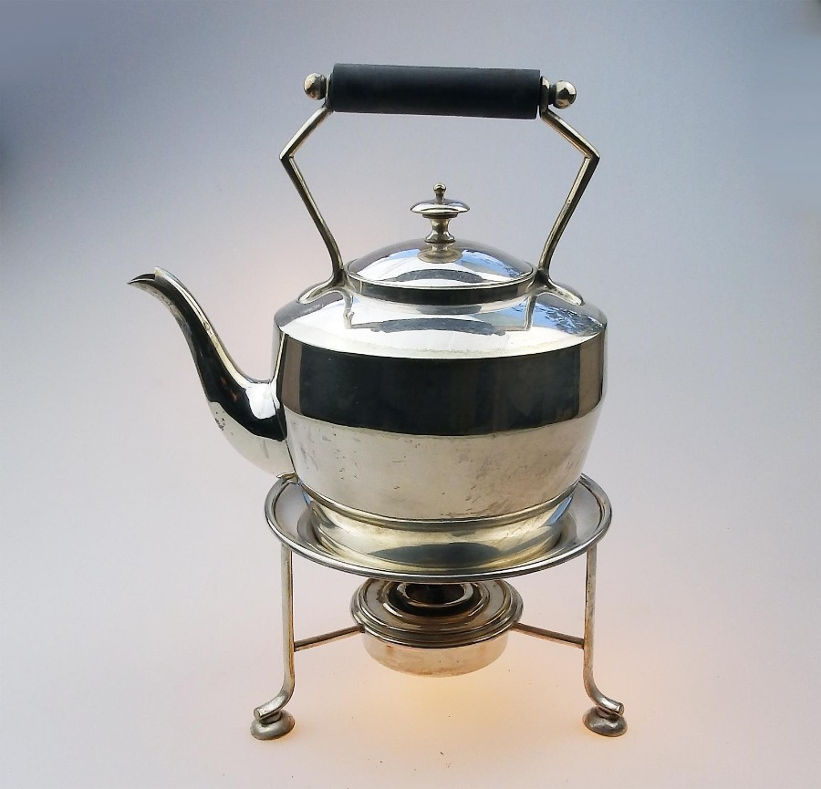 Antique Silver Plate Victorian Kettle on Stand & burner C.19thC