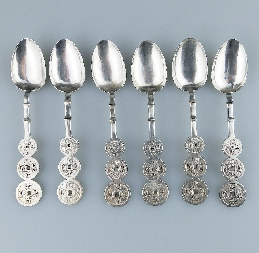 Antique Oriental Solid Silver a set Chinese Shanghai Lueng Wo Spoons C.19thC