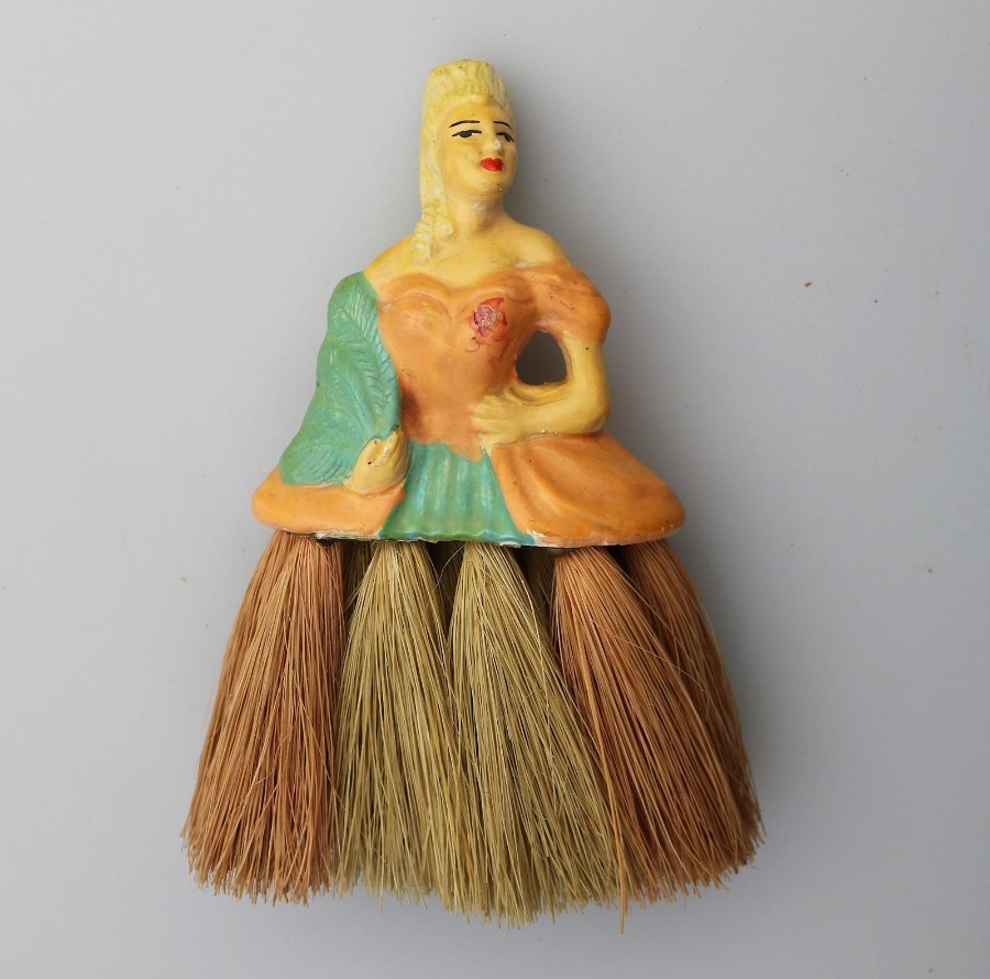 Art Deco: An unusual Girl half doll Brush C.1930-50's