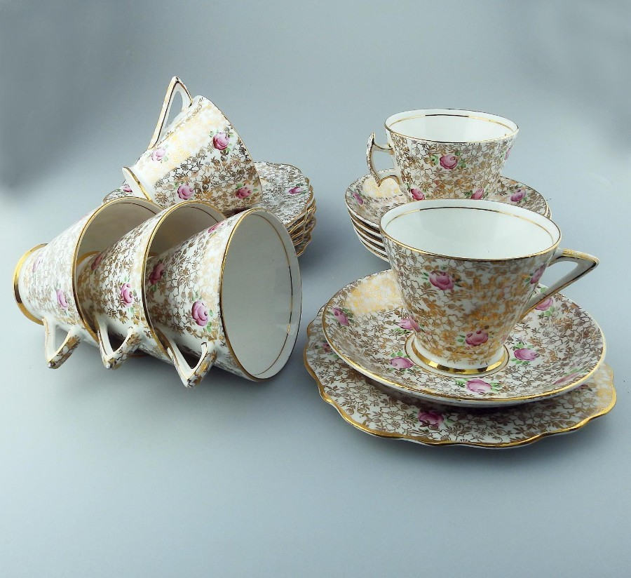 Art Deco Antique Fine Bone China : 18p Teaset - gilded floral C.early 20thC