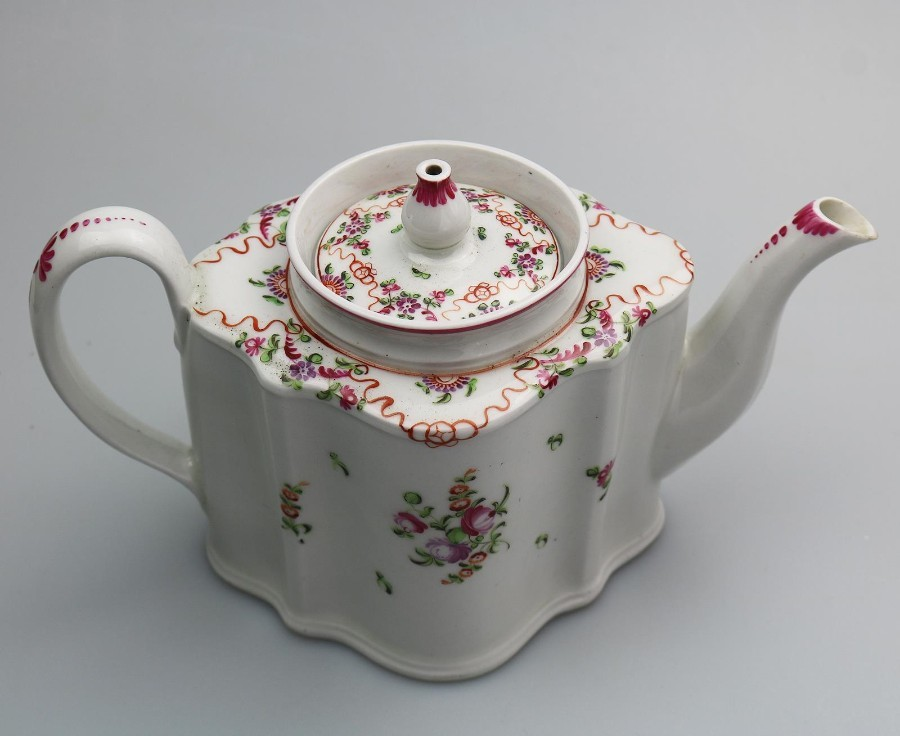 Antique English Porcelain an attractive New Hall Lozenge Teapot 195 C.18thC