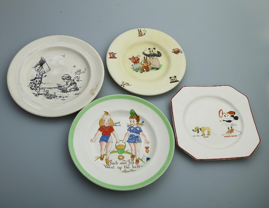 Antique / Vintage English Pottery Collection of Nursery Plates 4X Walt Disney +