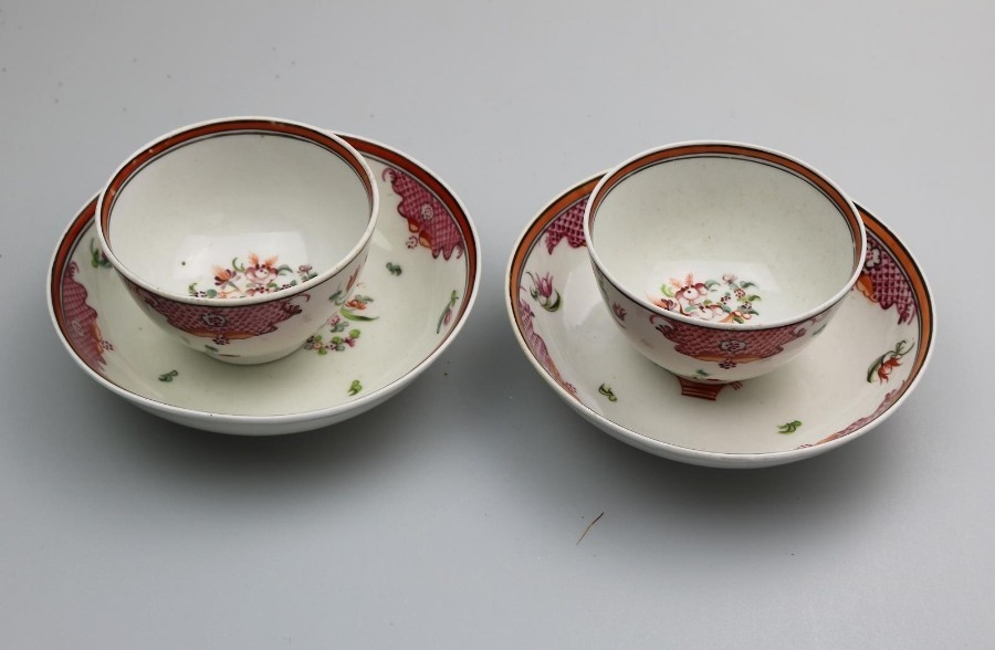 Antique English Porcelain: an attractive pair New Hall Tea Bowl & Saucer C.18thC