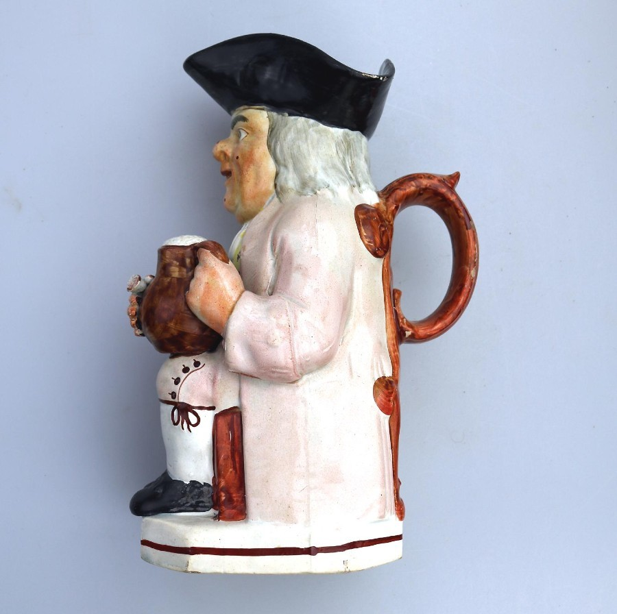 Antique Antique English Pottery Good Staffordshire Character Toby Jug C.early 19thC