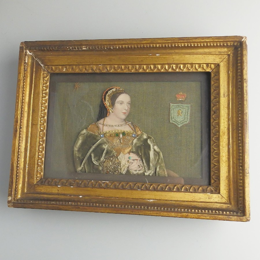 Antique Commemorative Tinsel Print of Museum quality, Mary Queen of Scots interest C.19thC