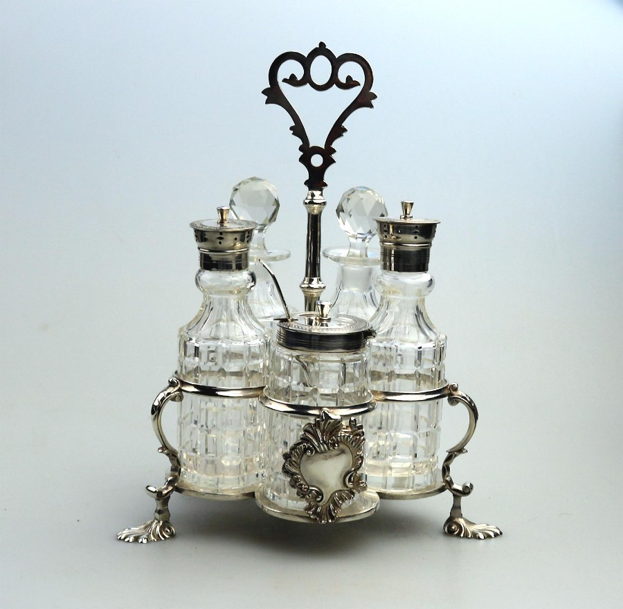 Antique Silver Plate a fine Warwick type cut glass 5 bottle Cruet C.1863/64