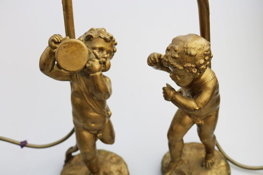 Antique Antique Lighting A good gilded brass Cherub Dancing Table Lamp C.1920-60