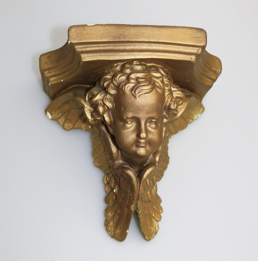Antique Vintage pair of gilded plaster Cherub Corbel Wall Brackets 2 C.1960
