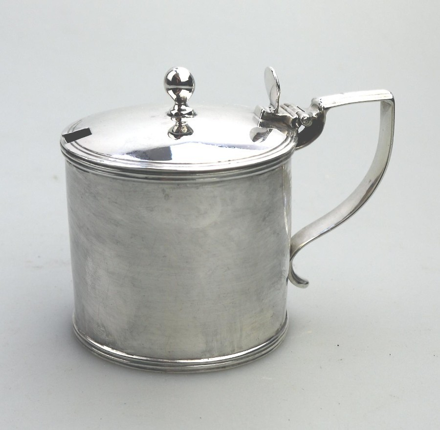 A Large Georgian Antique Solid Silver Drum Mustard Pot London 1805