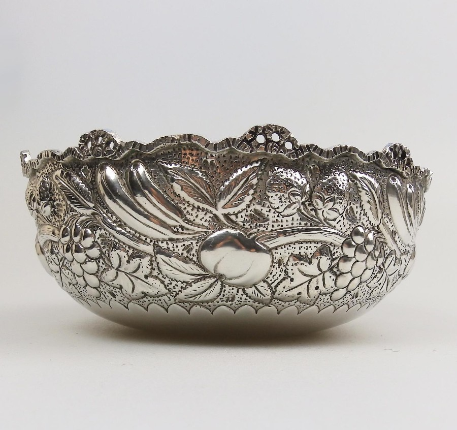 Antique 800 Silver Victorian large very attractive Continental Fruit Bowl C.19thC