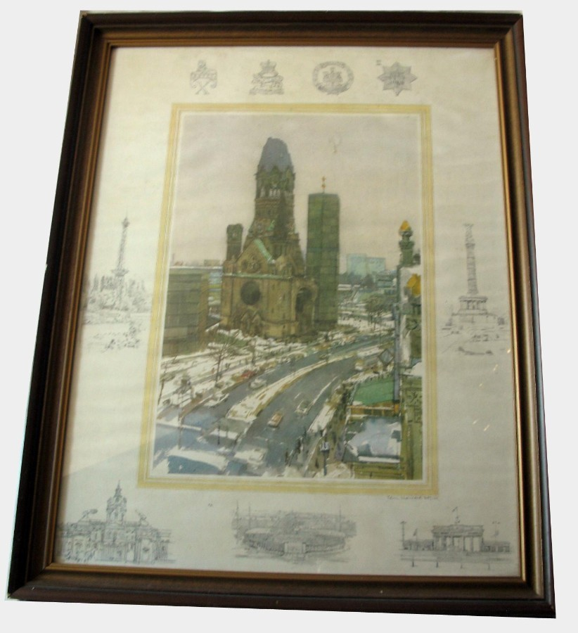 Sir Ken Howard limited edition Print (88-100) of Berlin with British Army Logo