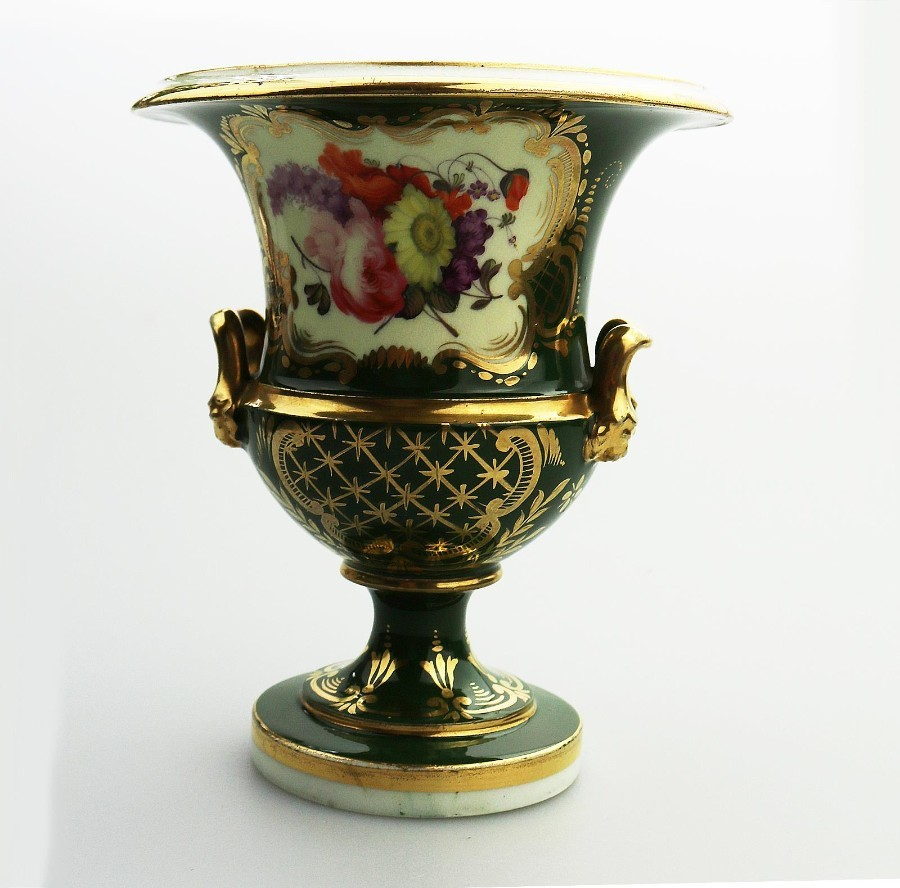 Antique English Porcelain a small Campana Urn Vase finely painted 2 early 19thC