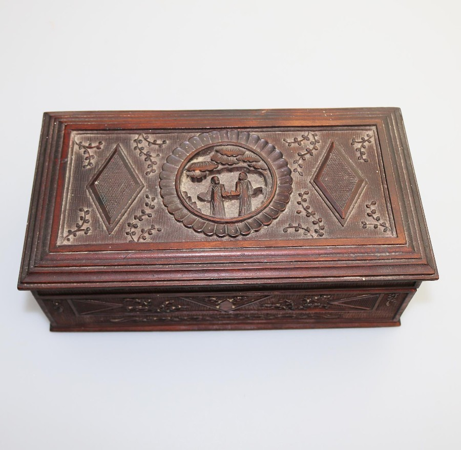 Antique Oriental : a medium Chinese carved Box C.1900+