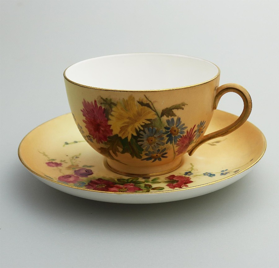 Antique English Porcelain Royal Worcester hand painted Cup & Saucer C.1912