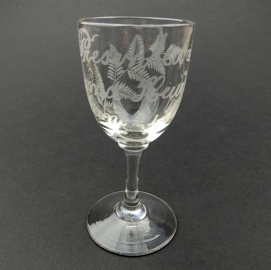 Antique Victorian Glass : A lovely engraved Presentation Glass C.1877