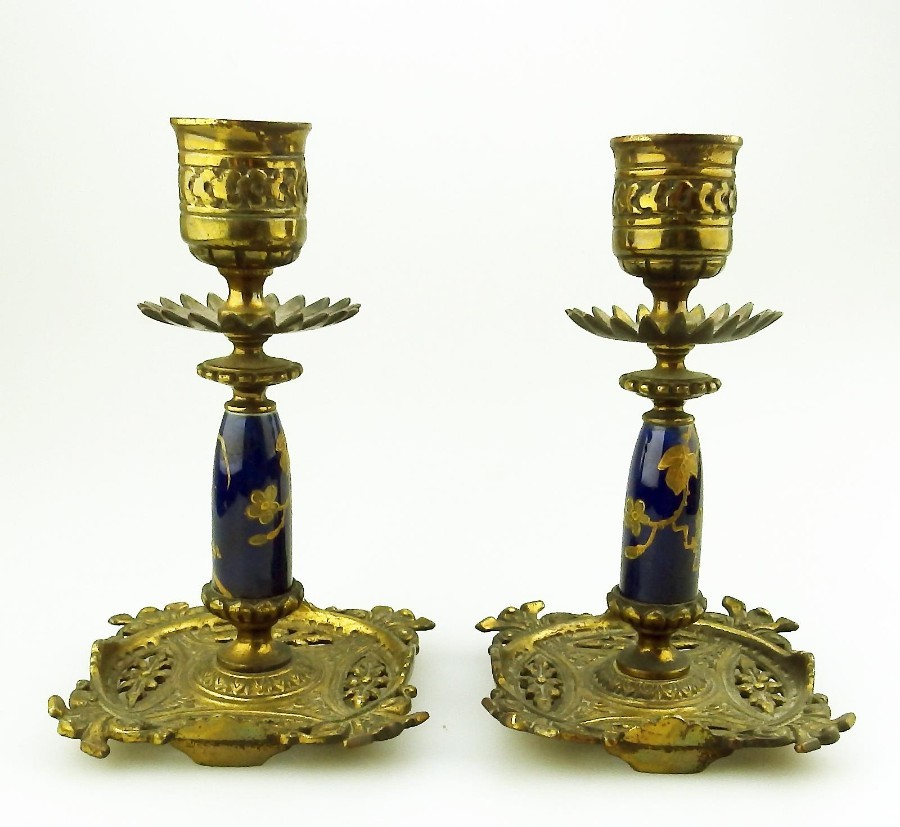 Antique Metalware Lighting a fine pair of gilt & porcelain Candlesticks C.19thC