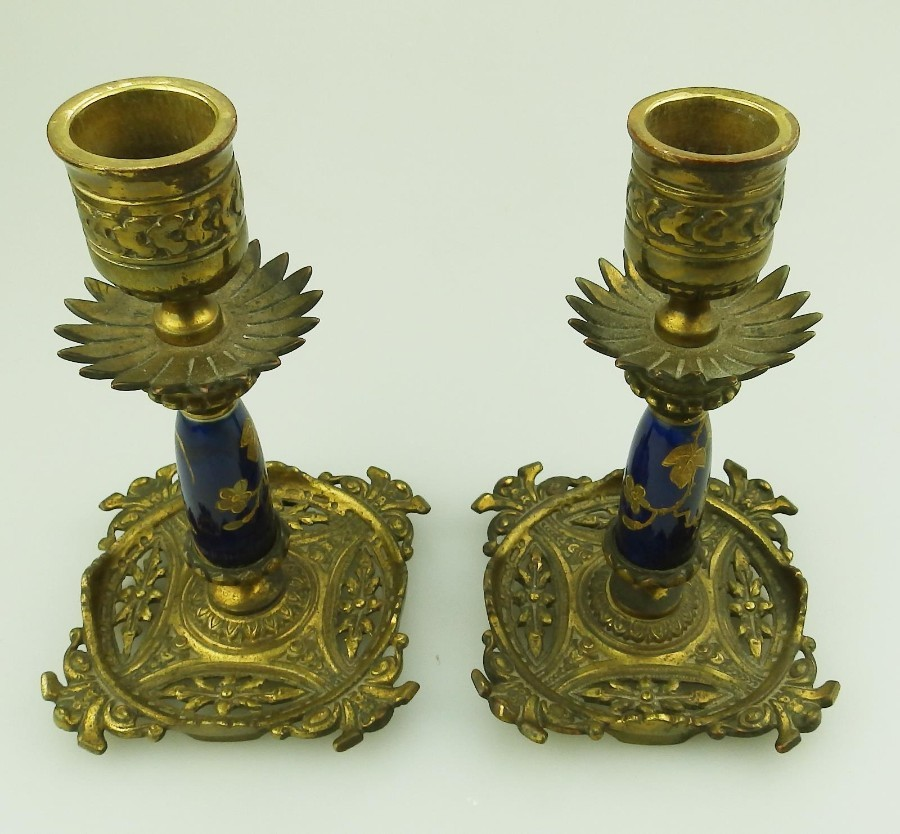 Antique Antique Metalware Lighting a fine pair of gilt & porcelain Candlesticks C.19thC