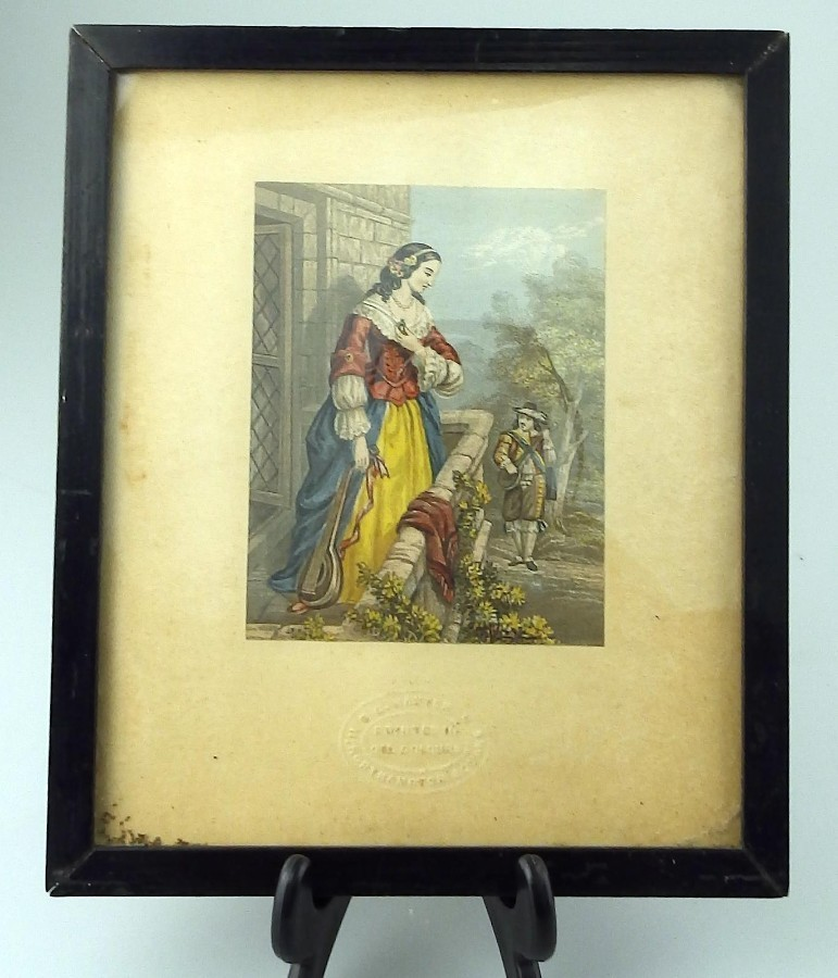 Antique Baxter Print signed an attractive Victorian Framed Print C.19thC