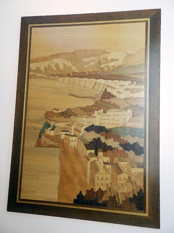 Antique Antique Treen: a Good Marquetry Inlaid Wooden Panel of a Fishing Village C. 1st half 20thC