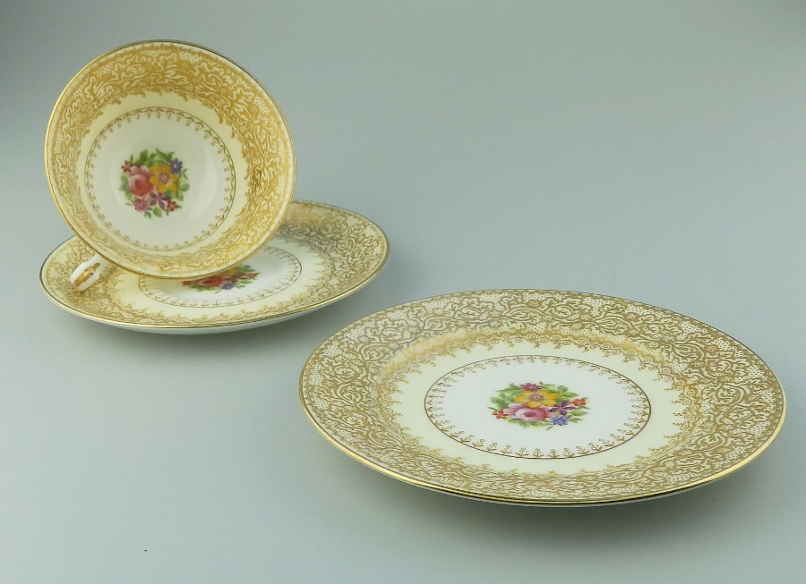 Antique Porcelain a George Jones gilt Trio Cup, Saucer & Plate C.1906