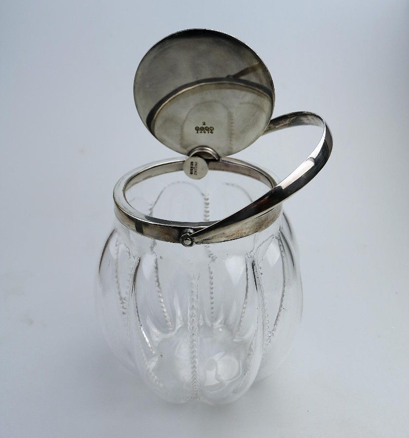 Antique Silver Plate novelty automatic opening Hukin & Heath Biscuit Jar C.1910