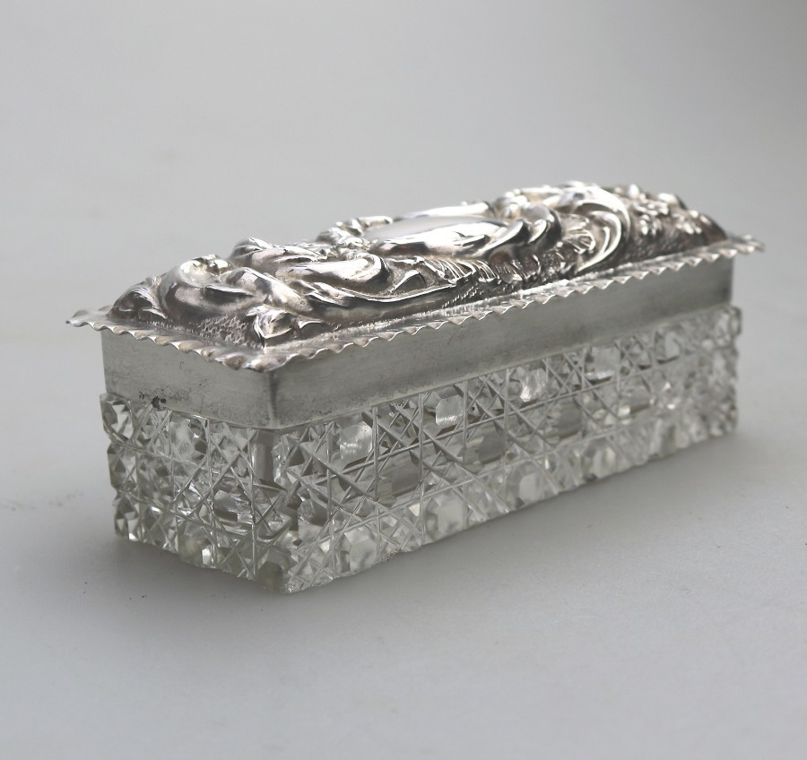 Antique Solid Silver & Hobnail Cut Glass Box Birm 1900