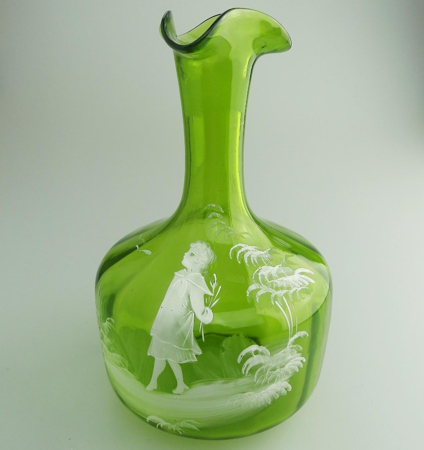 Antique Victorian Glass : A green Mary Gregory hand enamelled Decanter C.19thC