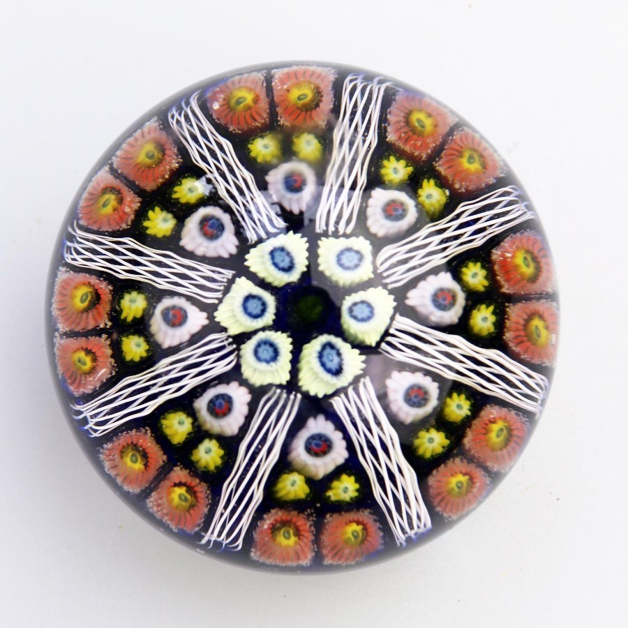 Vintage Scottish Glass Paperweights Strathearn Wheel millefiori cane Mid 20thC