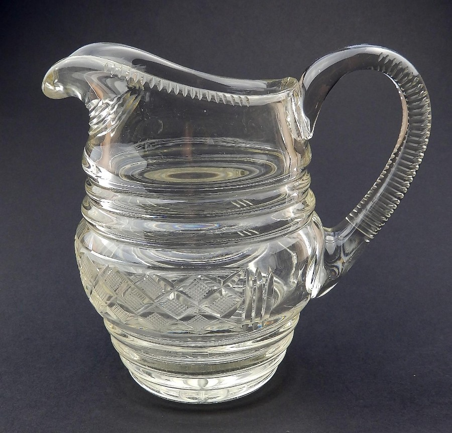 Antique Anglo/Irish Cut Glass Blown Glass large Victorian Irish cut Jug C.19thC