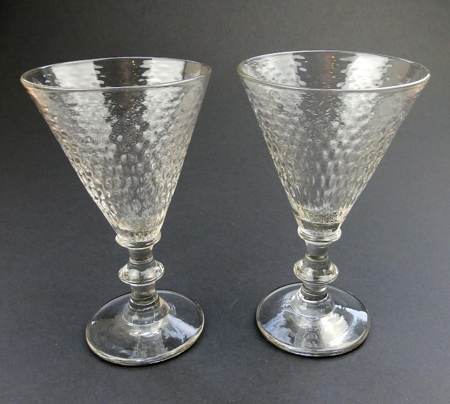 Antique Glass a rare pair large Wine Glasses with honeycomb Bowls C. 19thC