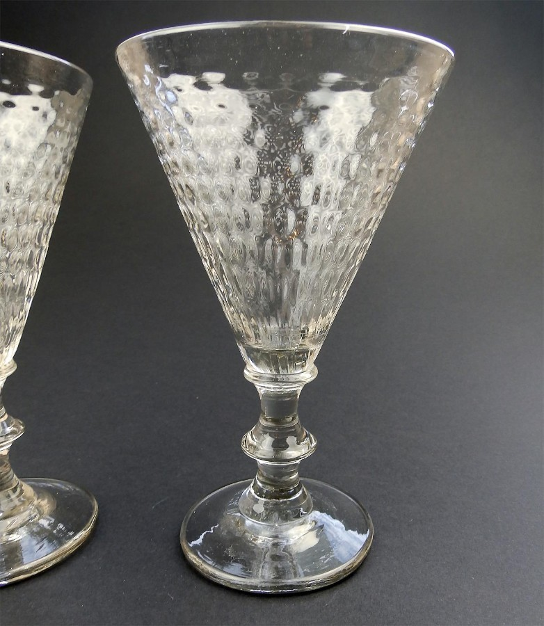 Antique Antique Glass a rare pair large Wine Glasses with honeycomb Bowls C. 19thC