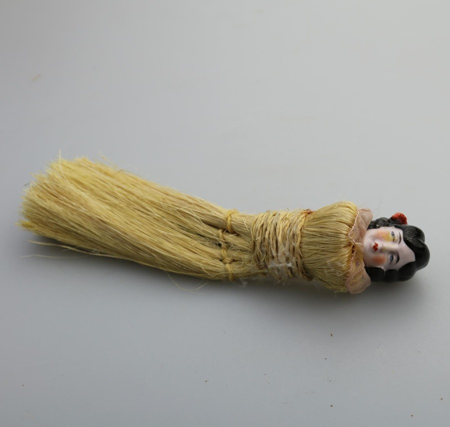Antique Porcelain Art Deco Flapper Brush half doll C.1920's
