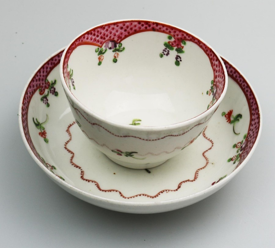 Antique English Porcelain an attractive New Hall Tea Bowl & Saucer 4 C.18thC