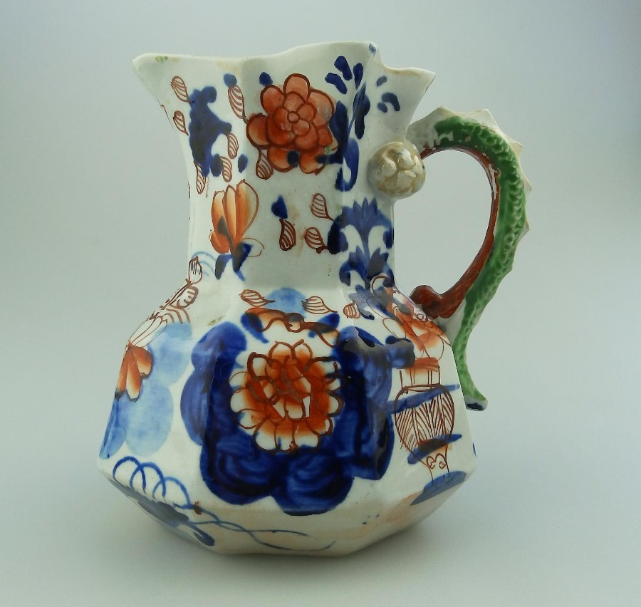 Mason's Ironstone Antique English Pottery a good hand painted Hydra Jug C.1813-20