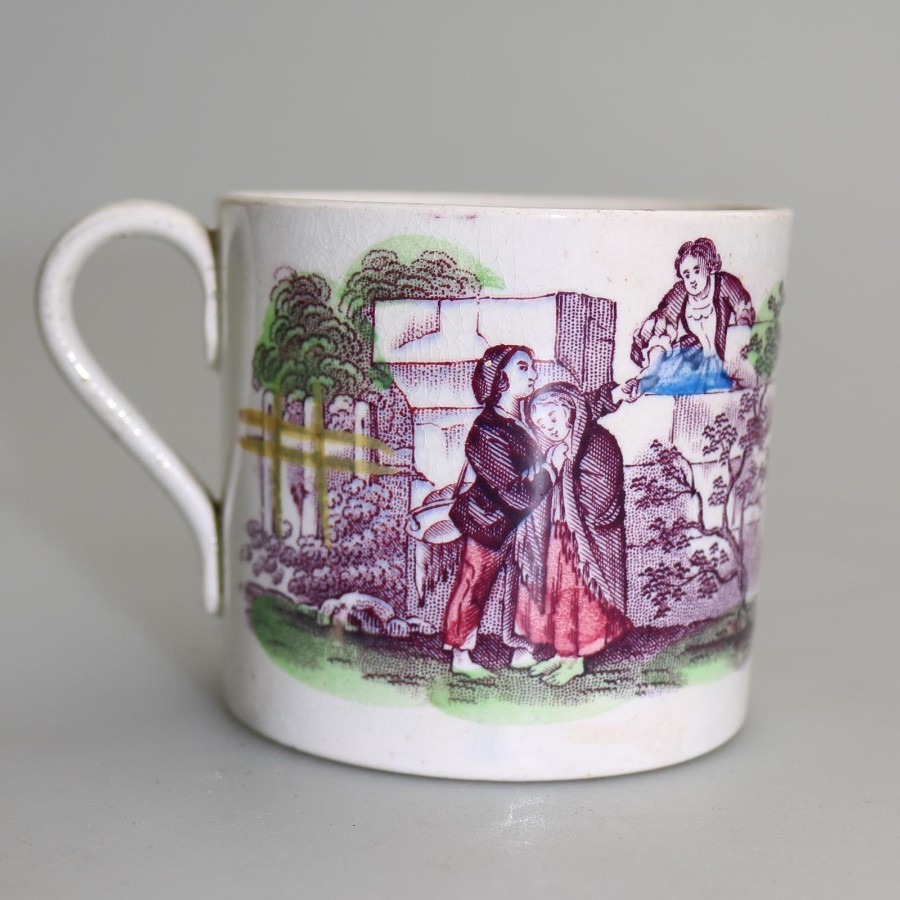 Antique Antique English Pottery Staffordshire Child's Transferware Mug Mid 19thC
