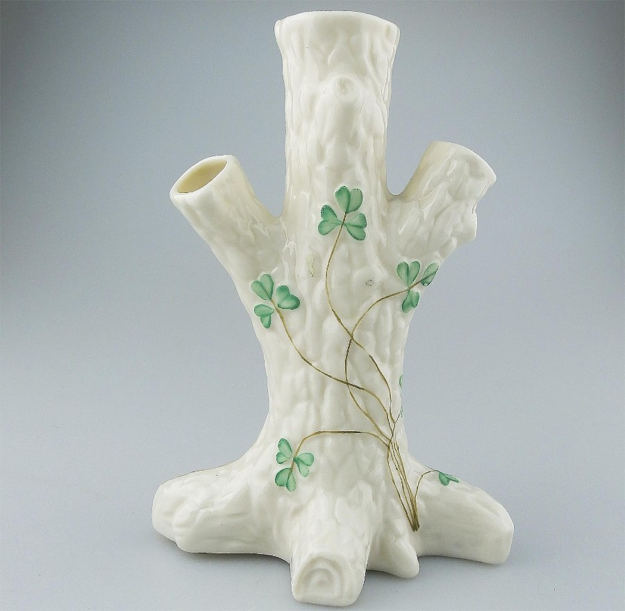 Belleek Porcelain Irish novelty Vase modelled as a tree trunk 3rd Mark C.1926+