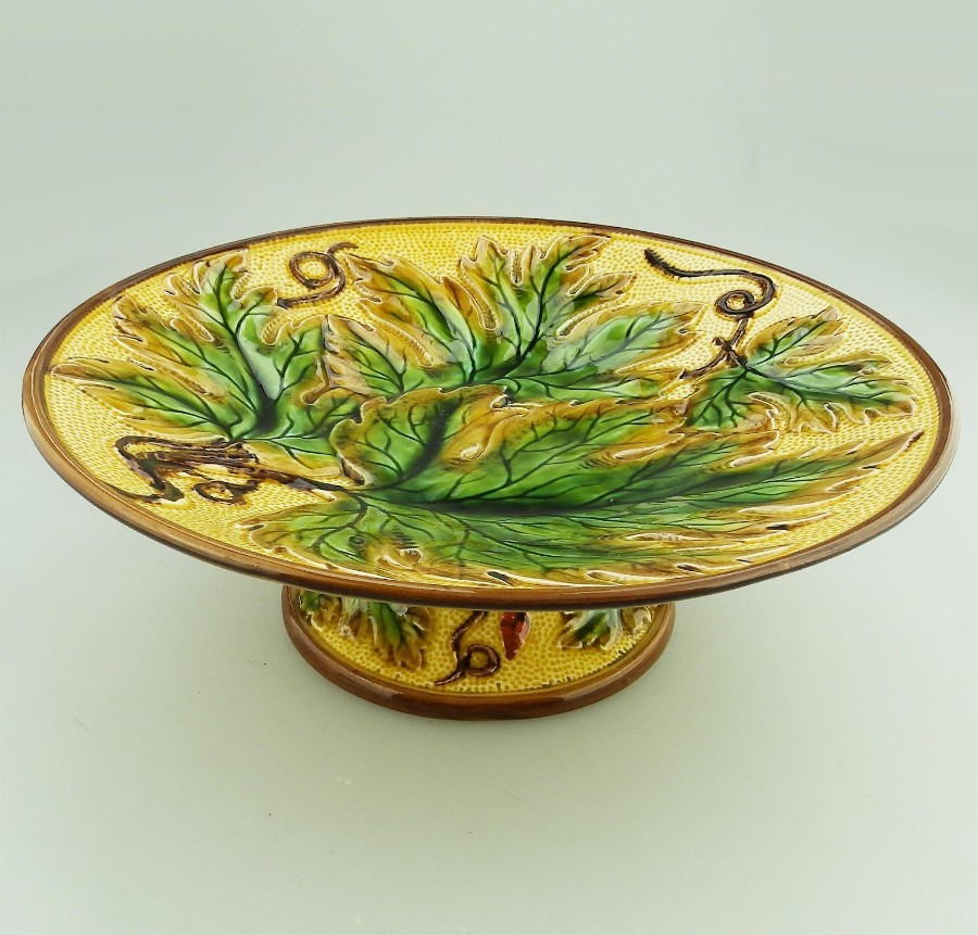Majolica Antique Pottery a lovely Victorian Cabbage Ware Tazza Comport Karl Schaaff C.19thC