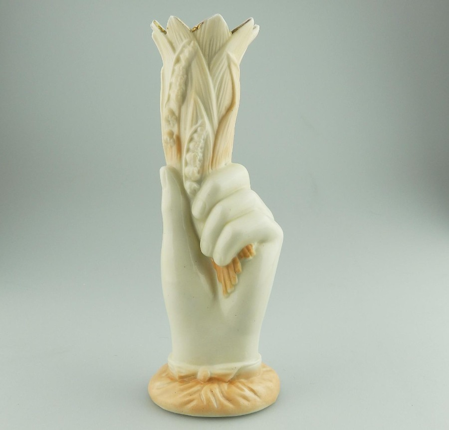 Antique Continental Porcelain Parian hand coloured Hand Vase C.19thC