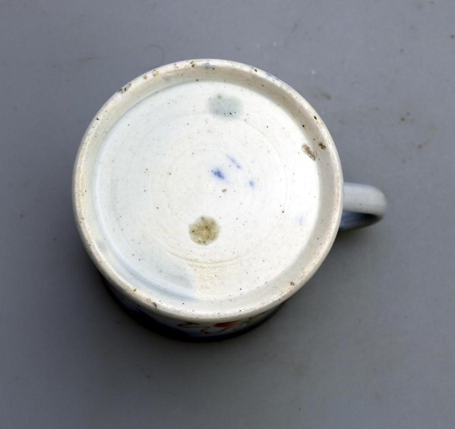 Antique Antique English Pottery good Gaudy Welsh flow blue Child's Tankard / Mug C.19thC
