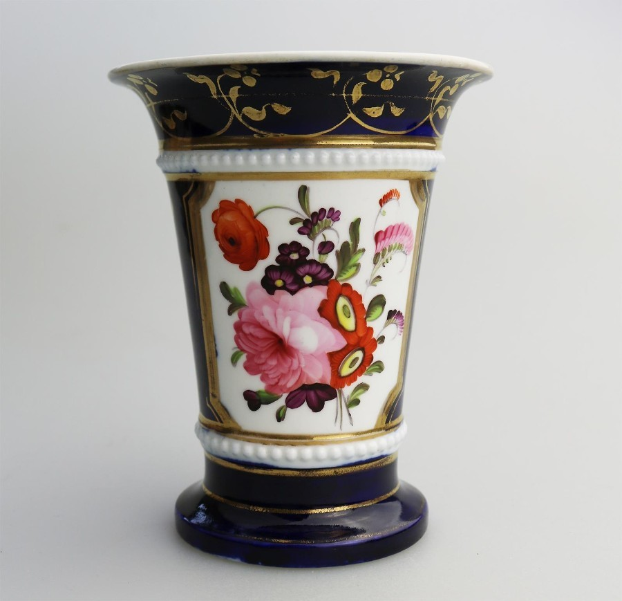 Antique English Porcelain a fine Regency hand painted Spill Vase C. early 19thC