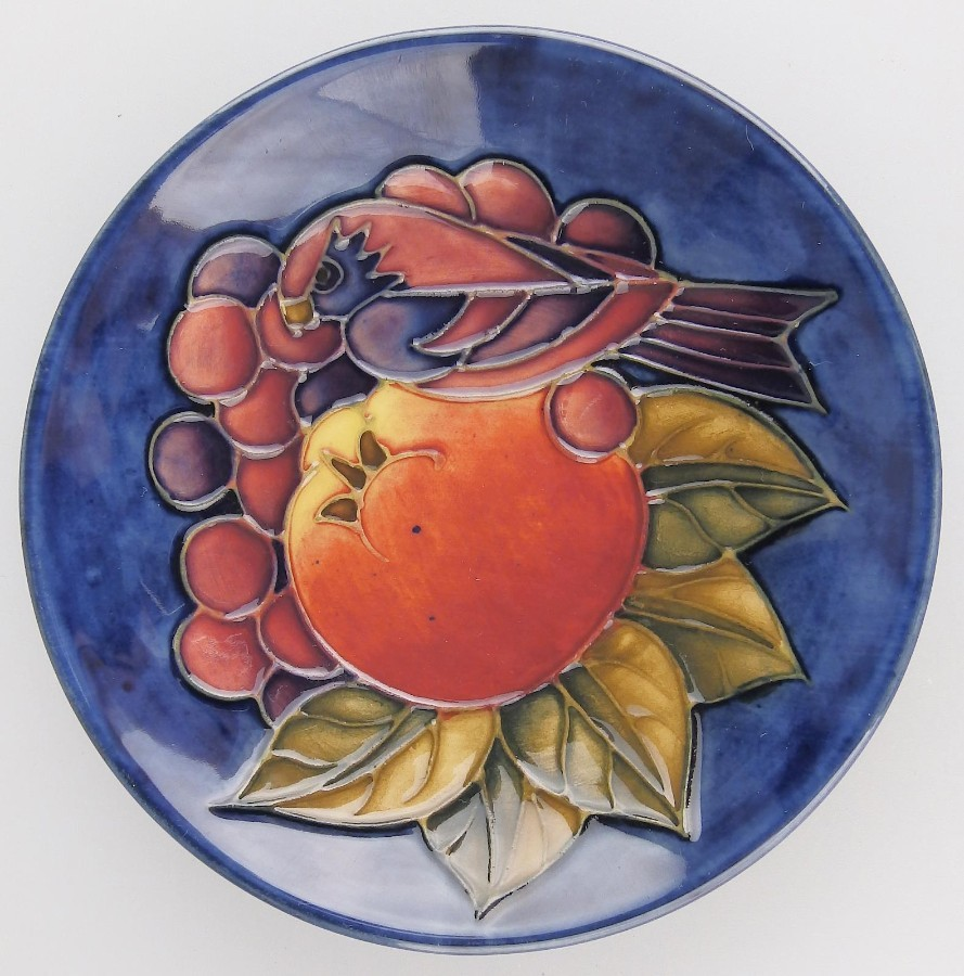 Moorcroft Decorative Arts Sally Tuffin Finches & Fruit Dish C. late 20thC