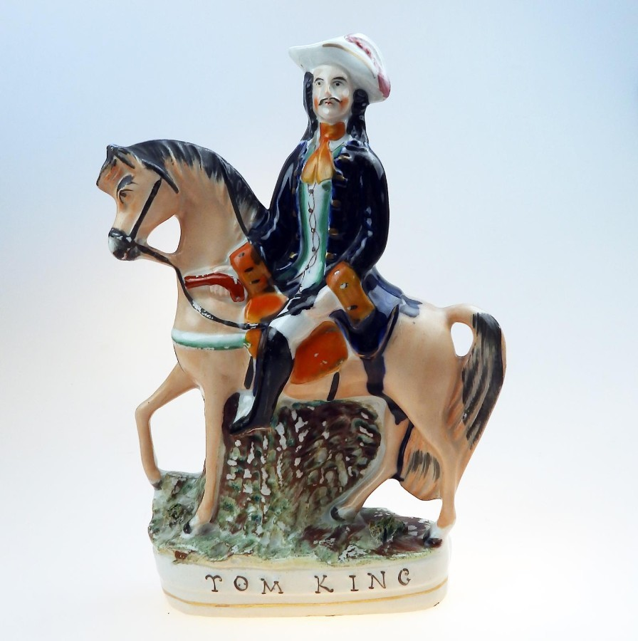 Antique Staffordshire Pottery a Tom King polychrome Figure C. 1850 - 1870