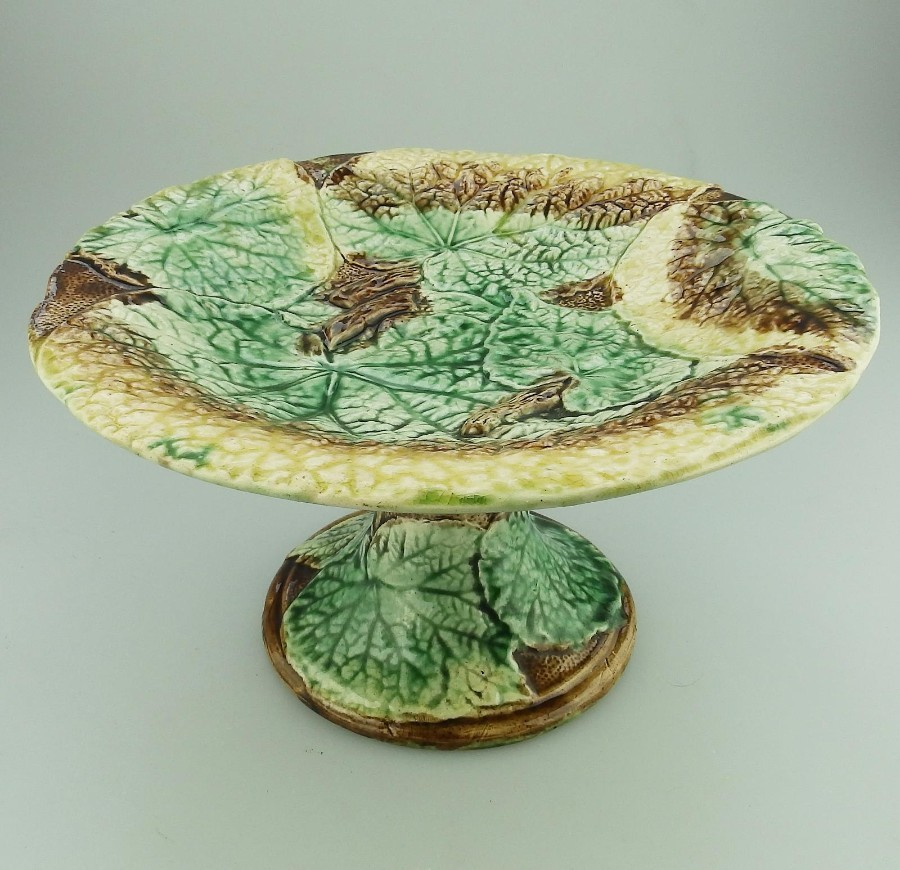 A lovely Victorian Majolica antique Pottery Cabbage leaf Comport C.19thC