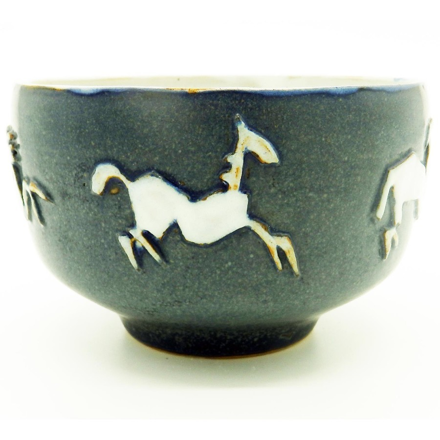 A fantastic Contemporary Art Studio Pottery Bowl with stylised galloping horses C.1960's