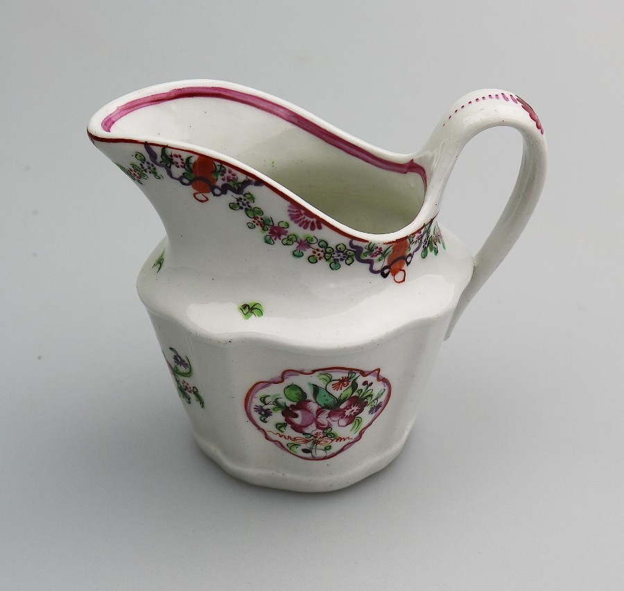 Antique Antique English Porcelain an attractive New Hall silver shape Milk Jug C.18th