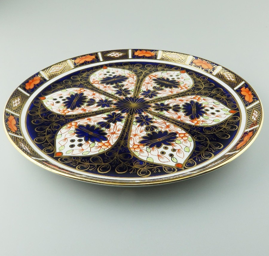Antique English Royal Crown Derby Porcelain Cabinet Tray - Imari Pattern C.1919