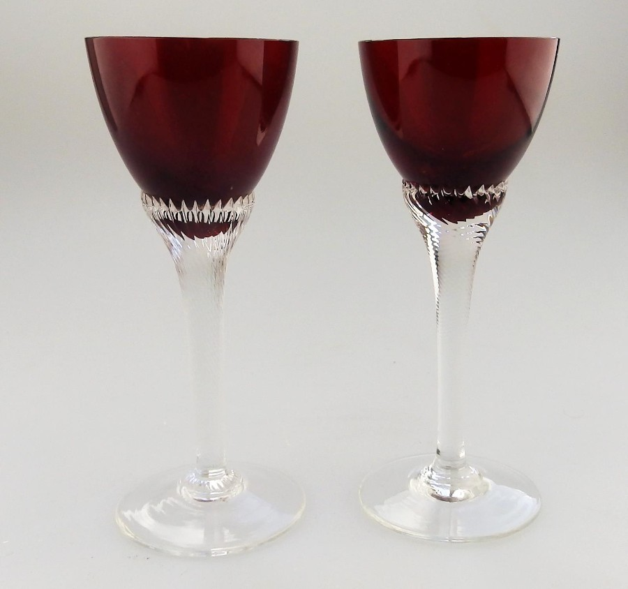 Vintage Glass Pretty pair ruby Glasses C. early/mid 20thC