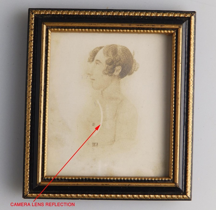 Antique Miniature : Georgian Sketch on Hogarth easel frame C. early 19thC