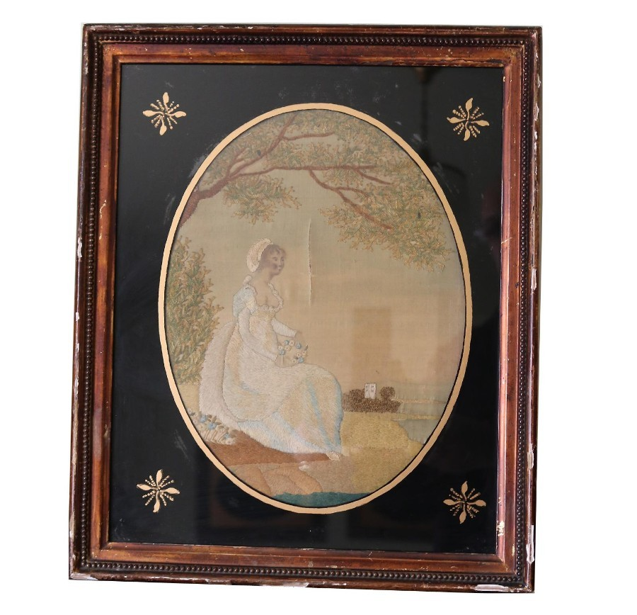 Antique rare Silk Embroidery & Watercolour Pastoral Picture 4 C.1790
