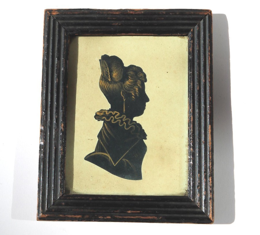 Antique Silhouette : A bronzed picture of a Lady C.19thC